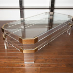 Lucite Coffee Table with Brass Accents