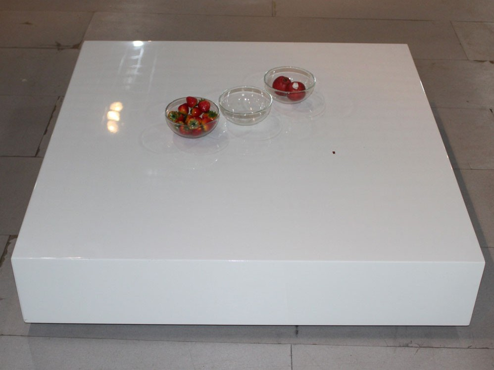 Massive White Lacquer Coffee Table