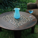 Outdoor Wooden and Tiled Coffee Table