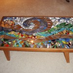 Painted Glass and Mirror Mosaic Coffee Table