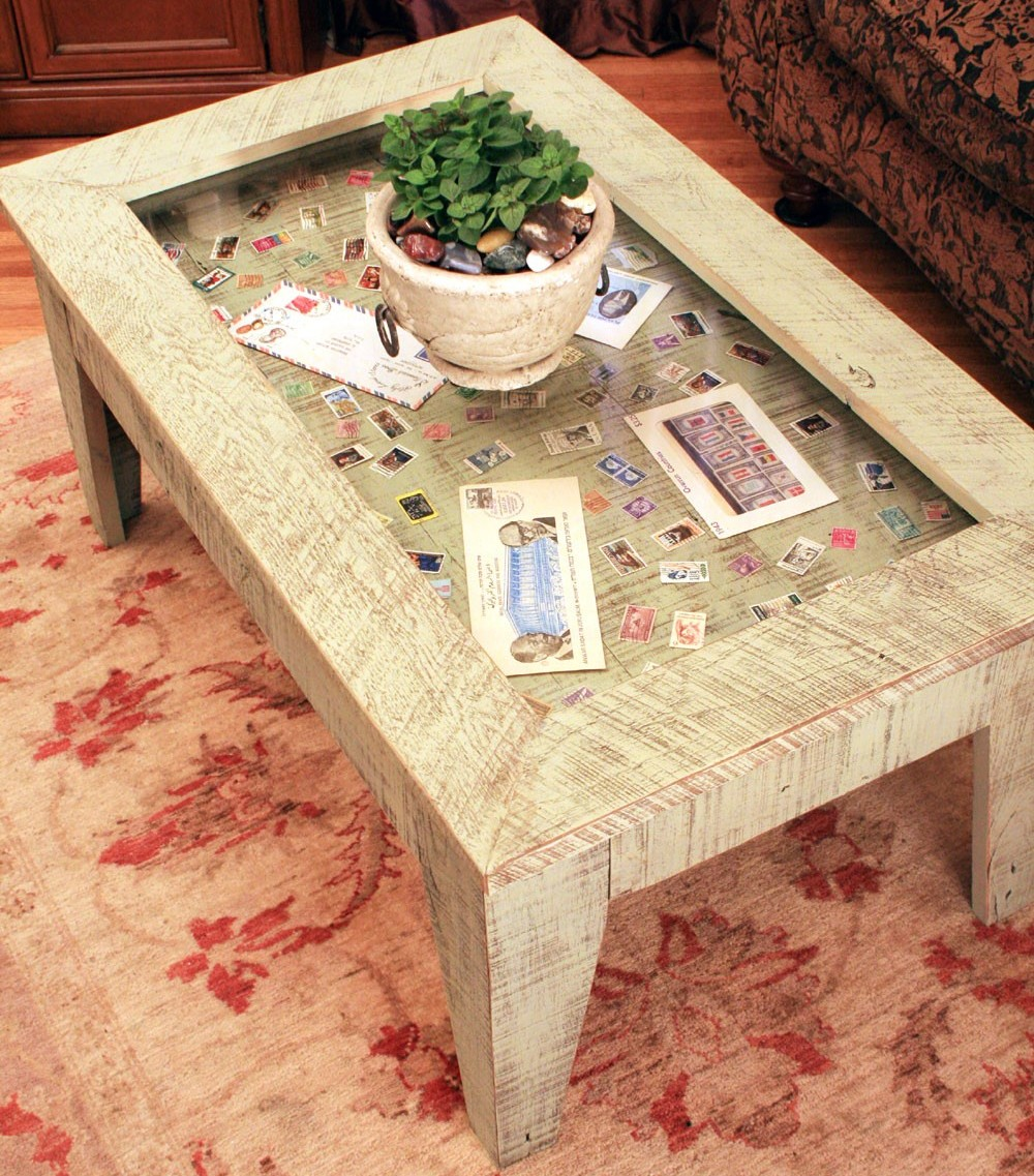 Post Glass Display Coffee Table