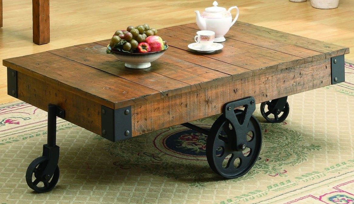 Reclaimed Wood Coffee Table With Stilyzed Wheels Image And Description