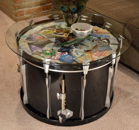 Round Gl Display Coffee Table Made Of Drum Image And Description