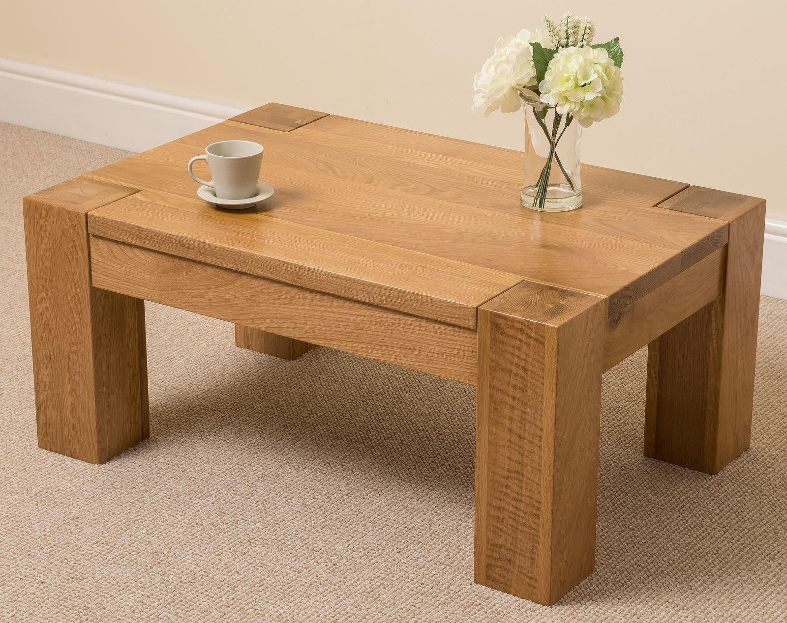 Solid Light Wood Coffee Table Coffee Tables - Rustic light wood coffee table