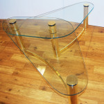 Tubular Brass Coffee Table with Glass Top