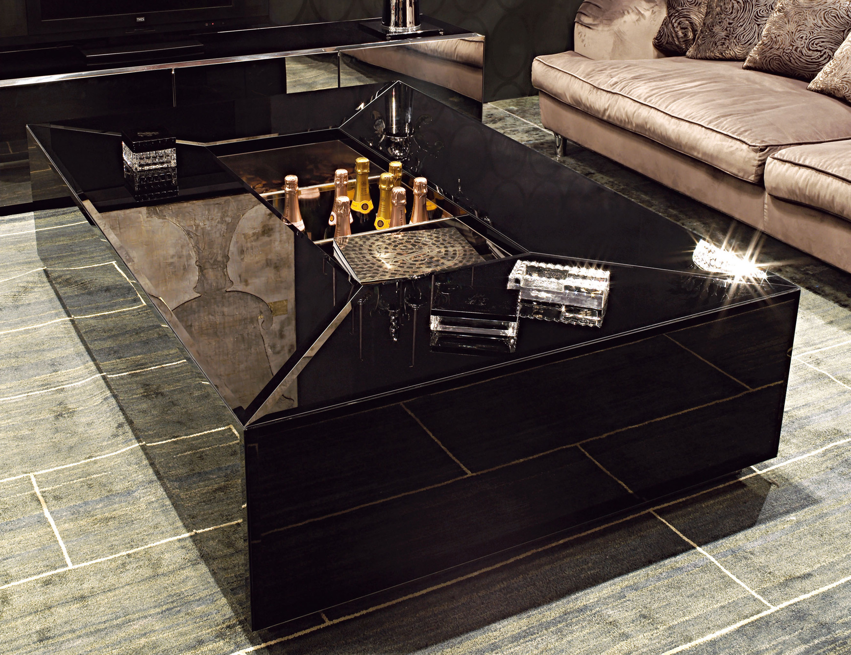 Black Lacquer Coffee Table with Storage