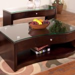 Espresso Coffee Table with Glass Top