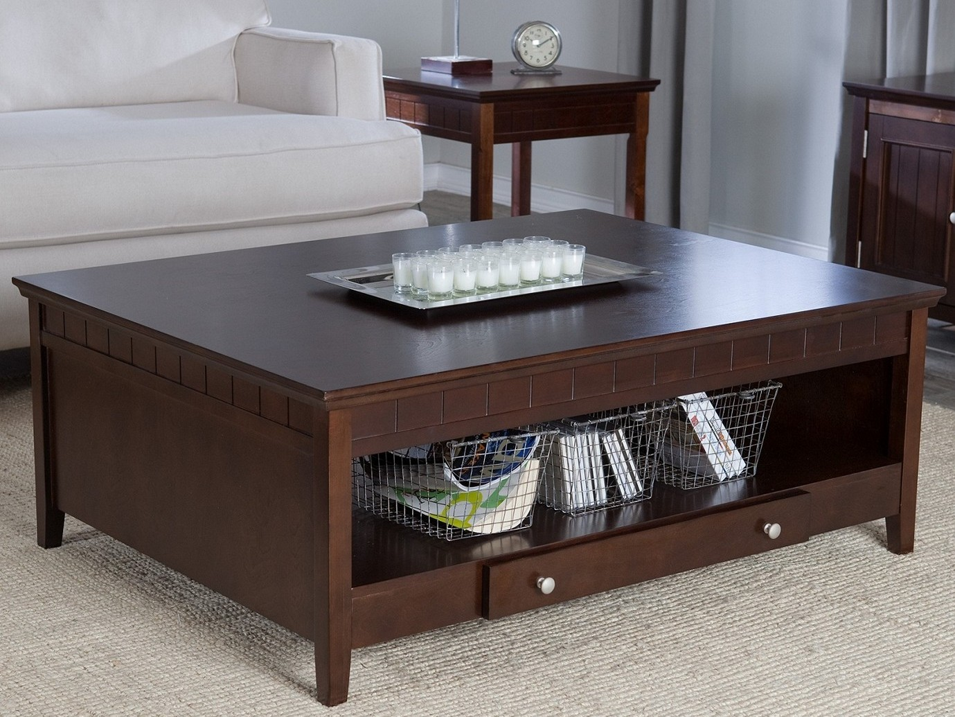 Espresso Coffee Table with Open Shelf