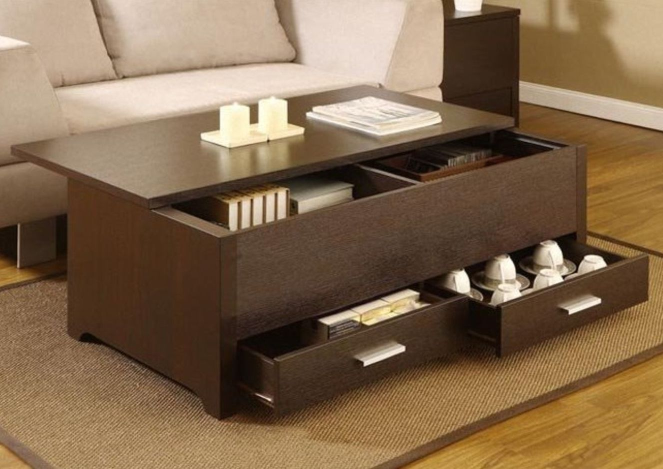 Espresso Coffee Table With Storage Coffee Tables