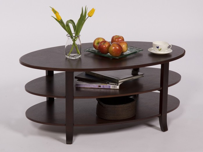 Oval Espresso Coffee Table
