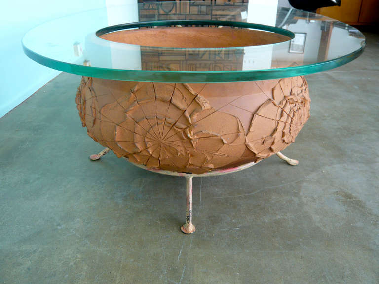 Unusual Coffee Table with Ceramic Base