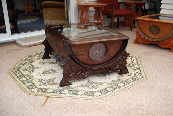 Nice Unusual Wine Barrel Coffee Table Image And Description