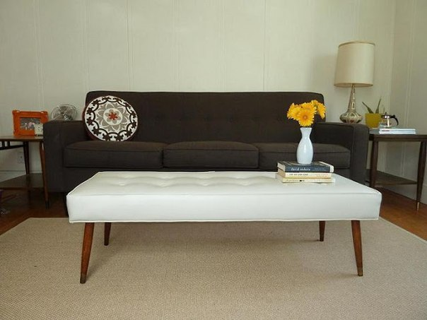 White Upholstered Coffee Table in Room
