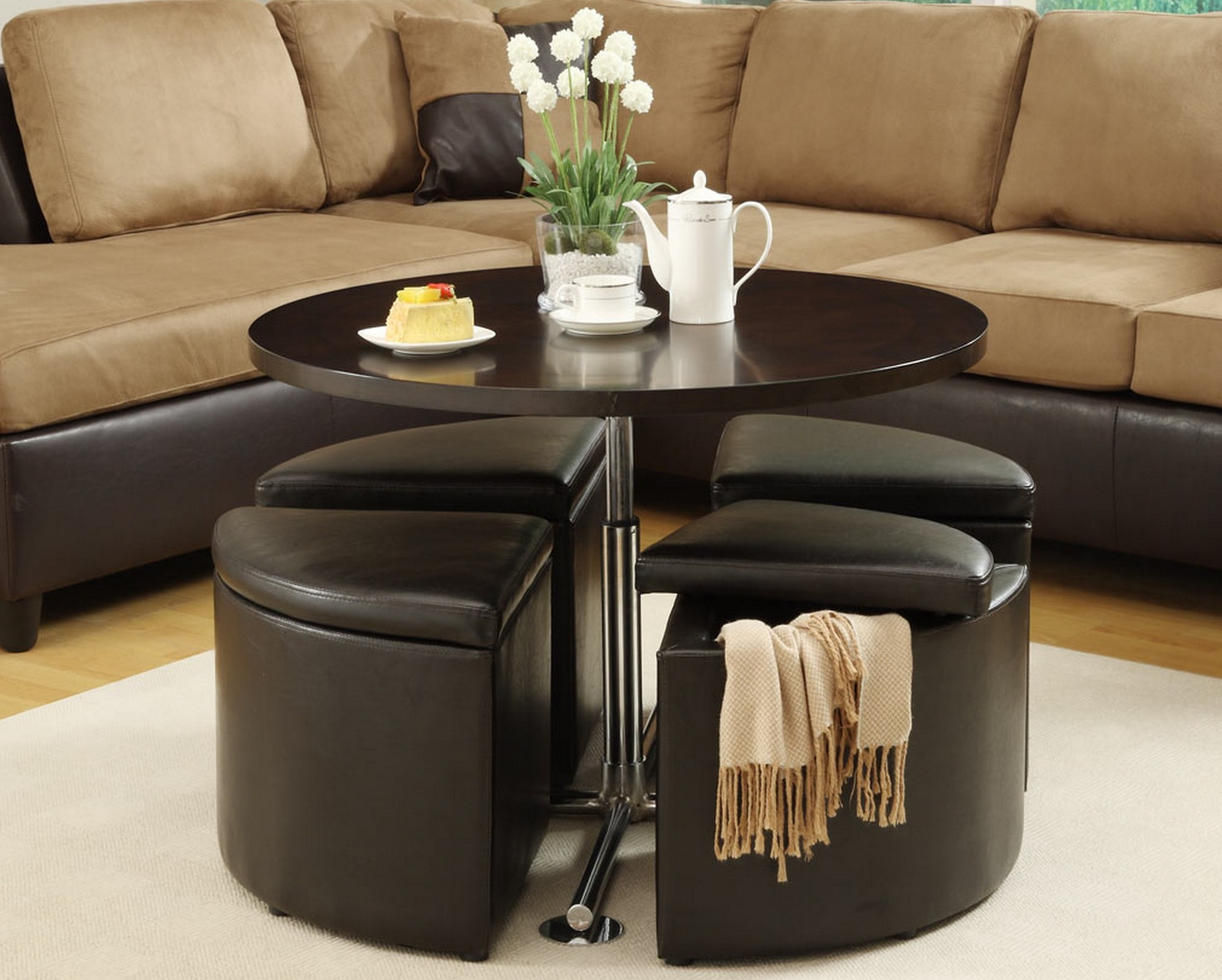 Coffee Table With Hidden Stools For Small Spaces | Coffee Tables