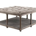 Coffee Table with Tufted Ottoman Top and Oak Wood Frame