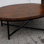 Dark Wood Coffee Table with Iron Base