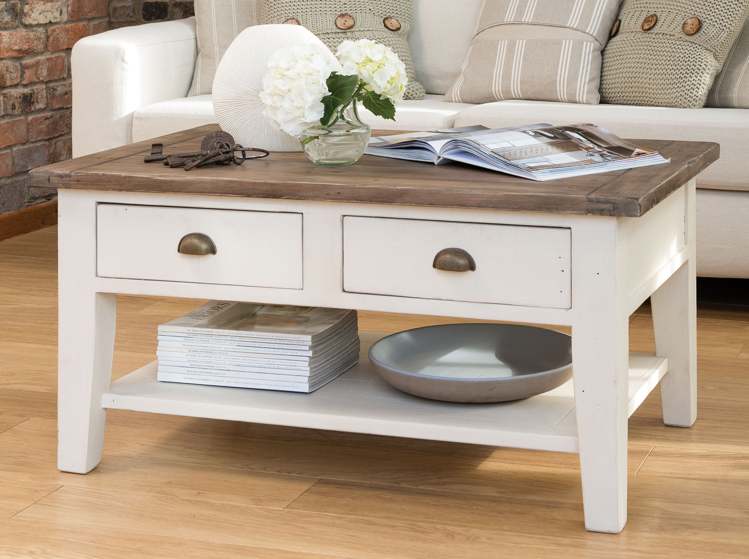 French Country Coffee Table With Two Drawers Image And Description