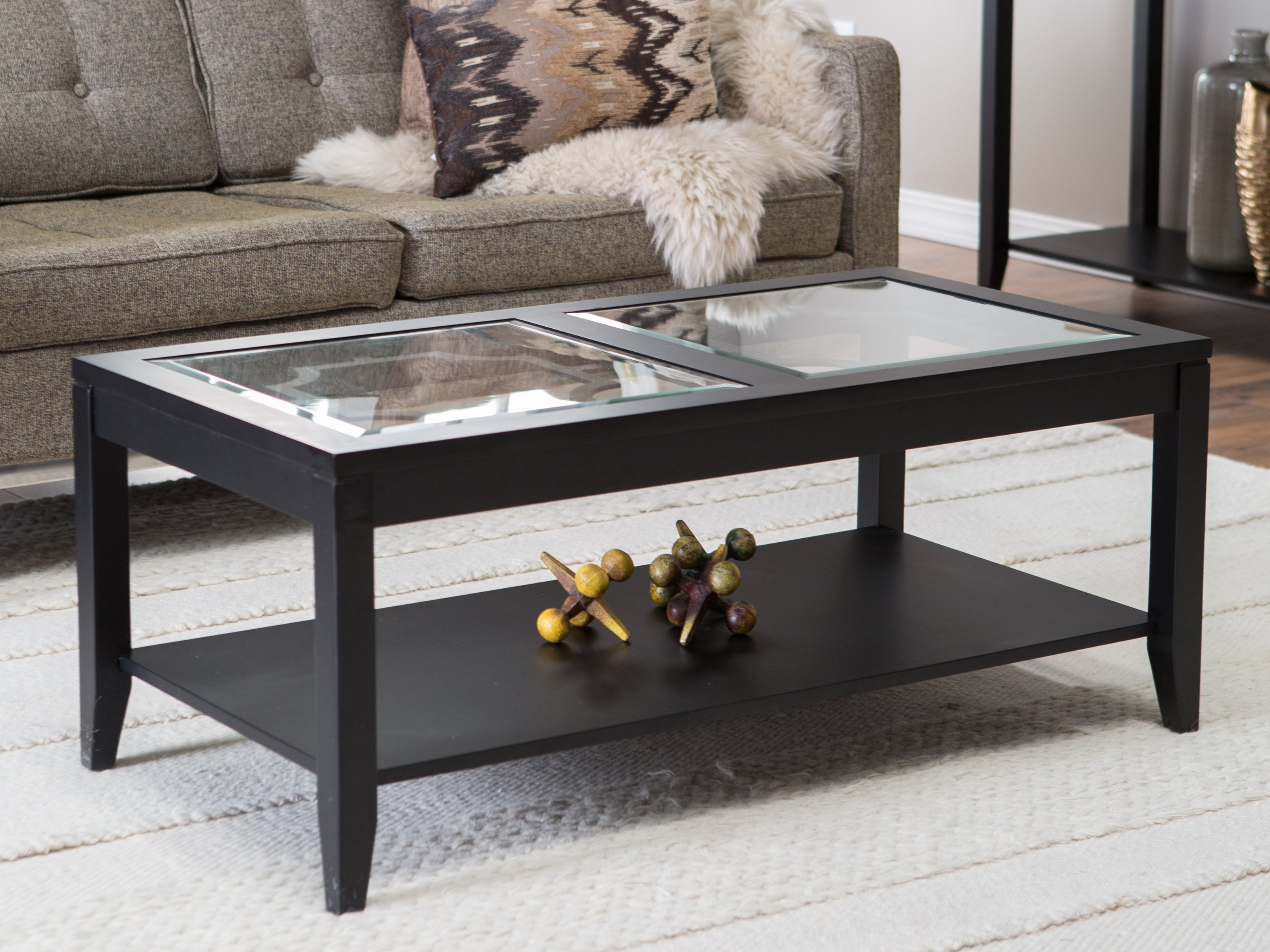 Glass Top Rectangular Coffee Table