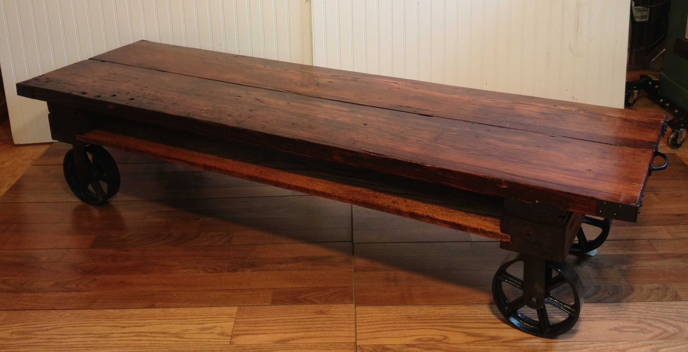 Industrial Rectangular Coffee Table With Wheels