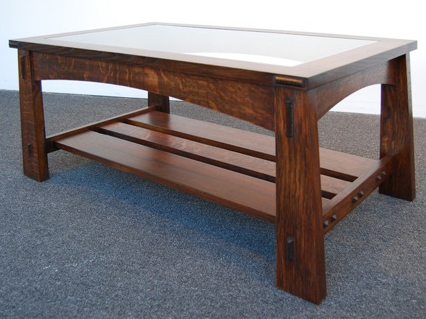 Mission Style Coffee Table With Gl Top Image And Description