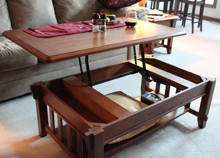Pop Up Coffee Table With Shelf Image And Description