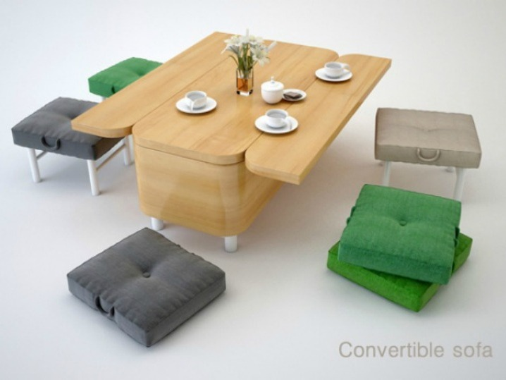 Sofa Transformed into Coffee Table with Sitting Places for Small Spaces