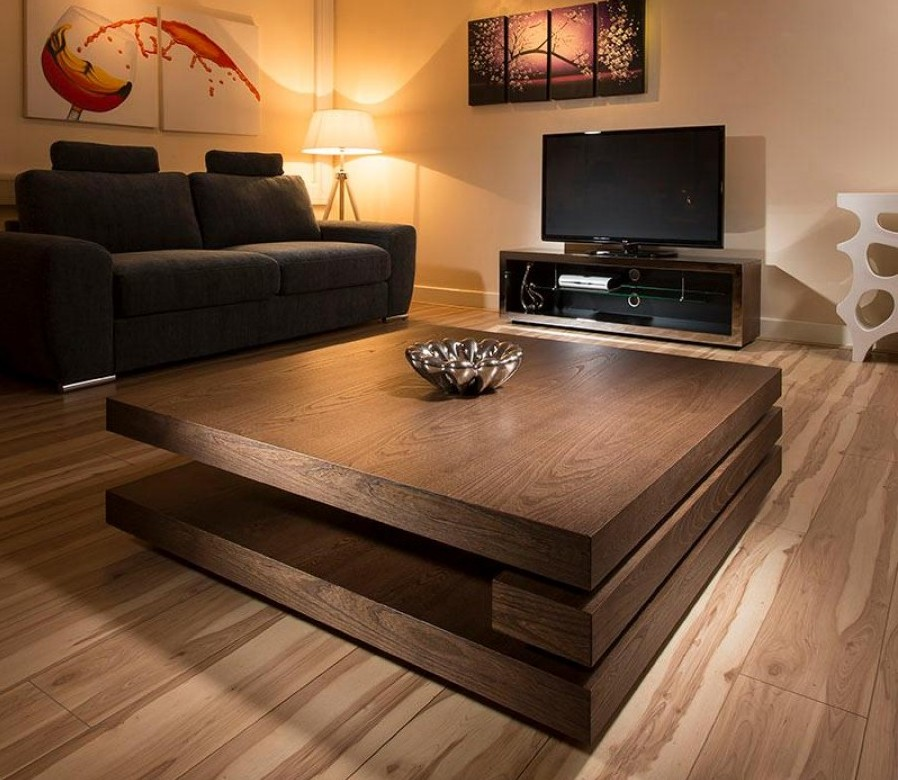Stylish Dark Wood Coffee Table Tables