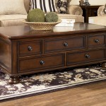 Wooden Rectangular Coffee Table with Drawers