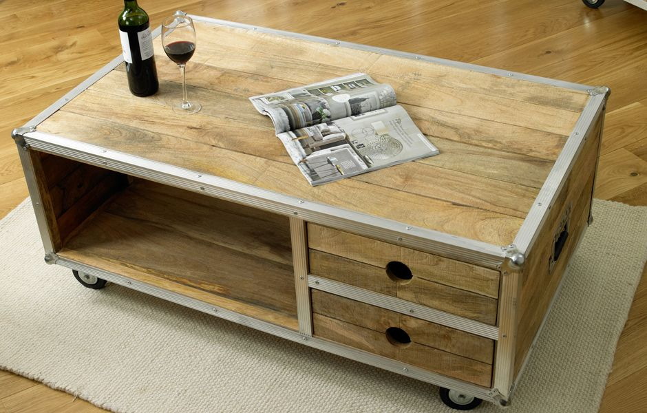 Industrial coffee table on wheels coffee tables for Coffee tables on wheels