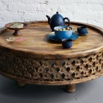 Round Coffee Table of Carved Wood
