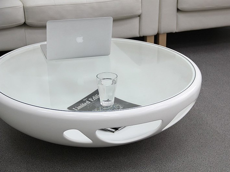 Round Coffee Table with Circular Base