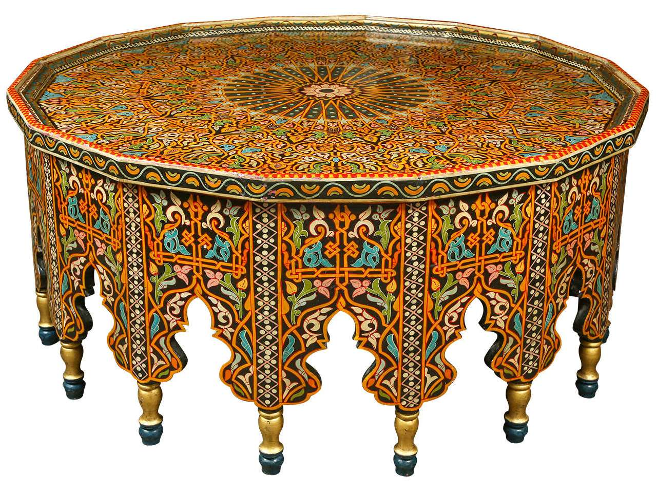 Round Moroccan Coffee Table Image And Description