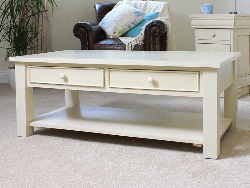Cream Coffee Table With Open Shelf And Drawers