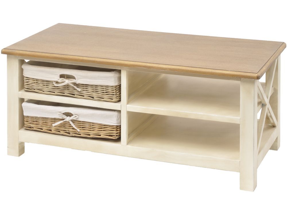 Cream Coffee Table With Storage