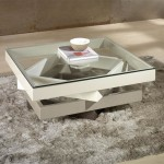 Glass Top Cream Coffee Table